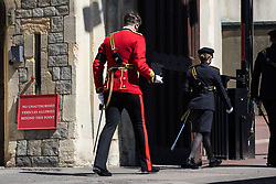 Members of the armed forces arrive at Windsor Castle to take part in the funeral of the Duke of Edinburgh on 17th April 2021 in Windsor, United Kingdom. The funeral of Prince Philip, Queen Elizabeth II's husband, is taking place at St George's Chapel in Windsor Castle, with the ceremony restricted to 30 mourners in accordance with current coronavirus restrictions.