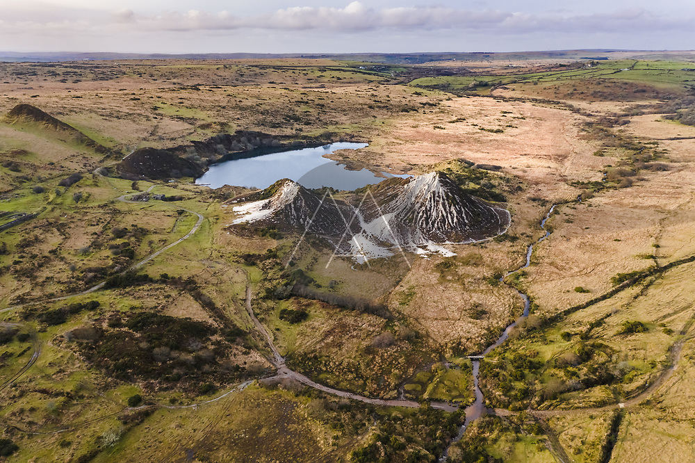 Aerial view of disused China clay pit,  Glynn Valley China clay Works, Bodmin Moor, Cardinham, Cornwall, UK.