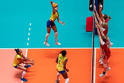 29-05-2019 NED: Volleyball Nations League Poland - Brazil, Apeldoorn<br /> Gabriela Braga GuimaraesC #10 of Brazil, Mara Ferreira Leao #1 of Brazil