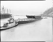 "Ackroyd 14303-15 ""Schnitzer Industires Inc. launching piggy-back barge 'SSI Portland'. December 5, 1966"" (Swan Island)"
