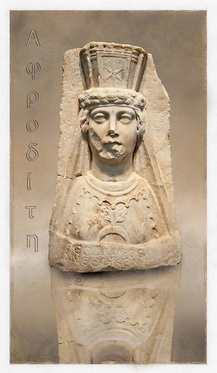 Photo of Roman releif sculpture of Aphrodite from the Theater dedicated to Theodorus, second-third century AD, Aphrodisias, Turkey, Images of Roman art bas releifs. Buy as stock or photo art prints. art 2