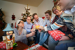 Family clinking glasses during Christmas celebration at home