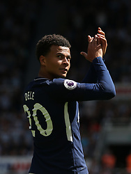 13 August 2017  : Premier League Football : Newcastle United v Tottenham Hotspur:  Dele Alli applauds the Tottenham supporters: Photo: Mark Leech