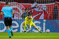 PIRAEUS, GREECE - NOVEMBER 25: José Sá of Olympiacos FC makes a save during the UEFA Champions League Group C stage match between Olympiacos FC and Manchester City at Karaiskakis Stadium on November 25, 2020 in Piraeus, Greece. (Photo by MB Media)