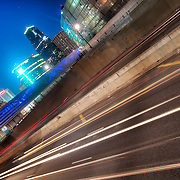 Interstates 70 and 35 cutting through downtown Kansas City, Missouri.