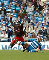 Photo: Kevin Poolman.<br />Reading v Stoke City. Coca Cola Championship. 17/04/2006. Stoke's Sambegou Bangoura is bought down by Ivar Ingimarsson.