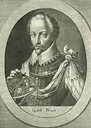 Humphrey Gilbert (1539?-1583) English soldier and navigator, half-brother of Walter Raleigh. In 1583 took possession of Newfoundland for the English crown.  Engraving by Michiel van der Gucht (1660-1725) for Clarendon's 'History'.
