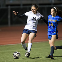 (Photograph by Bill Gerth for SVCN) Prospect  #14 Analise Jasso and Lincoln #14 Salma Montes in a BVAL Girls Soccer Game at Lincoln High School, San Jose CA on 1/27/17.  (Lincoln 2 Prospect 1 )