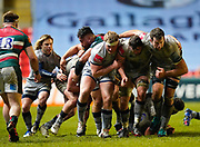 Sale Sharks Curtis Langdon contorls the ball at the back of a maul during a Gallagher Premiership Round 7 Rugby Union match, Friday, Jan. 29, 2021, in Leicester, United Kingdom. (Steve Flynn/Image of Sport)