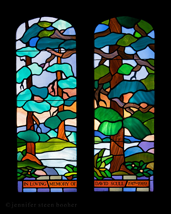 """Window 3 on plan. 37""""w x 45""""h inc. frame<br /> <br /> Given by Patricia Scull in memory of her late husband. Mrs. Scull requested that the design reference the Tiffany window at St. Jude's in Seal Harbor. <br /> <br /> St. Mary's by-the-Sea, Northeast Harbor, Maine."""