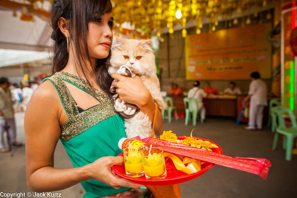 17 OCTOBER 2012 - BANGKOK, THAILAND:      A woman with her dog waits to make an offering during the Vegetarian Festival at Wat Mangkon Kamalawat, one of the largest Chinese shrines in Thailand, during the Vegetarian Festival. The Vegetarian Festival is celebrated throughout Thailand. It is the Thai version of the The Nine Emperor Gods Festival, a nine-day Taoist celebration celebrated in the 9th lunar month of the Chinese calendar. For nine days, those who are participating in the festival dress all in white and abstain from eating meat, poultry, seafood, and dairy products. Vendors and proprietors of restaurants indicate that vegetarian food is for sale at their establishments by putting a yellow flag out with Thai characters for meatless written on it in red.       PHOTO BY JACK KURTZ