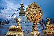 Boudhanath Stupa at dusk, Kathmandu, Nepal.