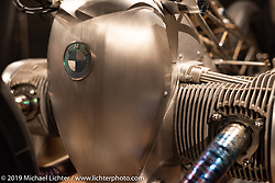 Custom Works Zon Japan's Departed, a custom that utilizes BMW's new big boxer engine purported to be 1,800 cc (BMW will not confirm this yet) on display. Handbuilt Show. Austin, Texas USA. Saturday, April 13, 2019. Photography ©2019 Michael Lichter.
