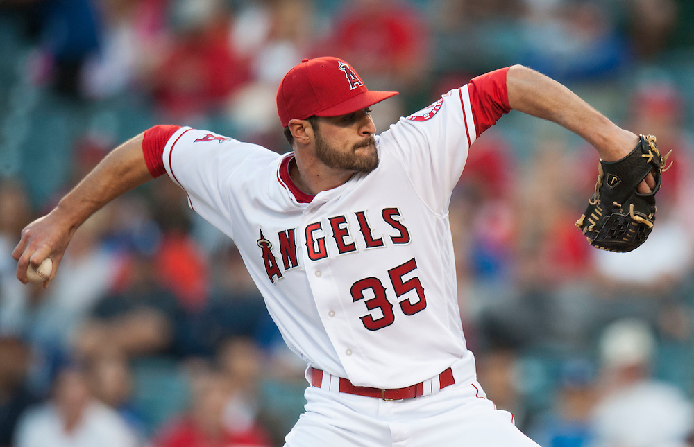 The Angels' Nick Tropeano pitches against the Dodgers Wednesday night at Angel Stadium.<br /> <br /> ///ADDITIONAL INFO:   <br /> <br /> angels.0519.kjs  ---  Photo by KEVIN SULLIVAN / Orange County Register  -- 5/18/16<br /> <br /> The Los Angeles Angels take on the Los Angeles Dodgers in inter-league play at Angel Stadium Wednesday night.