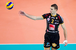 Alen Pajenk of Macerata during volleyball match between ACH Volley and Lube Banca Marche Macerata (ITA) in 5th Leg of Pool D of 2013 CEV Champions League on December 5, 2012 in Arena Stozice, Ljubljana, Slovenia. ACH defeated Macerata 3-1. (Photo By Vid Ponikvar / Sportida)