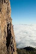 Kyle Turner climbing Hailstone Arete, 5.9, Mt. St. Helena, Robert Louis Stevenson State Park, Napa Valley, Ca