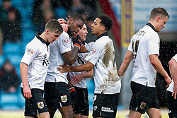 Jay Emmanuel-Thomas of Bristol City celebrates scoring a goal from the penalty spot to make it 0-1 - Photo mandatory by-line: Rogan Thomson/JMP - 07966 386802 - 17/01/2015 - SPORT - FOOTBALL - Scunthorpe, England - Glanford Park - Scunthorpe United v Bristol City - Sky Bet League 1.