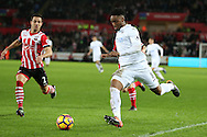Leroy Fer of Swansea city © in action. Premier league match, Swansea city v Southampton at the Liberty Stadium in Swansea, South Wales on Tuesday 31st January 2017.<br /> pic by  Andrew Orchard, Andrew Orchard sports photography.