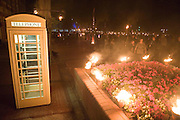 11 September 2009: Hull Freedom Festival, East Yorkshire, UK..Fire installations near to Hull Pier showing a Cream KC telephone box. It marked the start of the Freedom Festival - Hull's annual live music, arts and dance festival. The free event runs from Friday 11 to Sunday 13 September..Further info contact Nic Markham 01482 486603.Picture:Sean Spencer/Hull News & Pictures 01482 210267/07976 433960.High resolution picture library at http://www.hullnews.co.uk.©Sean Spencer/Hull News & Pictures Ltd.