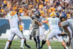 Sep 11, 2021; Morgantown, West Virginia, USA; West Virginia Mountaineers quarterback Jarret Doege (2) throws a pass during the second quarter against the Long Island Sharks at Mountaineer Field at Milan Puskar Stadium. Mandatory Credit: Ben Queen-USA TODAY Sports