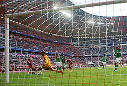 MUNICH, GERMANY - OCTOBER 18:  Philipp Lahm of Bayern Munich scores a goal during the Bundesliga match between Bayern Munich and Werder Bremen. October 18, 2014 in Munich, Germany. Photo mandatory by-line: Mitchell Gunn