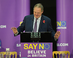 © Licensed to London News Pictures. <br /> <br /> Pictured: William Dartmouth, UKIP Trade Spokesman on 11/09/2015 on the UKIP Say NO to EU Tour in Gloucester, England.<br /> <br />  Photo credit should read Max Bryan/LNP