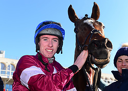 Commander of Fleet and Jack Kennedy after winning The Nathaniel Lacy & Partners Solicitors Ô50,000 Cheltenham Bonus For Stable StaffÕ Novice Hurdle during day one of the Dublin Racing Festival at Leopardstown Racecourse.