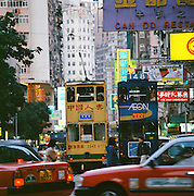 Trams in the busy Hong Kong City, Hong Kong