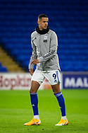 Cardiff City's Robert Glatzel (9) during the pre-match warm-up at the EFL Sky Bet Championship match between Cardiff City and Birmingham City at the Cardiff City Stadium, Cardiff, Wales on 16 December 2020.
