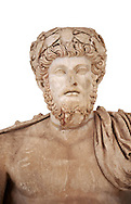 Roman sculpture of the Emperor Lucius Verus, excavated from Bulla Regia Theatre, sculpted circa 161-169 AD. The Bardo National Museum, Tunis.  Against a white background. .<br /> <br /> If you prefer to buy from our ALAMY STOCK LIBRARY page at https://www.alamy.com/portfolio/paul-williams-funkystock/greco-roman-sculptures.html . Type -    BARDO    - into LOWER SEARCH WITHIN GALLERY box - Refine search by adding a subject, place, background colour, museum etc.<br /> <br /> Visit our CLASSICAL WORLD HISTORIC SITES PHOTO COLLECTIONS for more photos to download or buy as wall art prints https://funkystock.photoshelter.com/gallery-collection/The-Romans-Art-Artefacts-Antiquities-Historic-Sites-Pictures-Images/C0000r2uLJJo9_s0c
