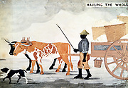 Slave with ox-cart containing the week's cotton pickings: New Orleans. Anonymous.