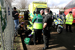 A medic looks after an injured fan during the Sky Bet Championship match at St Andrew's Trillion Trophy Stadium, Birmingham.