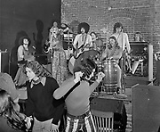 """Y-720122-3-12. Fresh Air at the American Museum on January 22, 1972. This was a nightclub located where Dante's on Burnside is now. (l to R) Donnie Anderson, Mel Able, Candy Hunt, Felix Omar, Bob """"Crusher"""" Metke, Dan Fincher, Richard Burdell, and Glenn Holstrom. The organ is a Hammond C3. (musicians identified by Ron Marraccini 11/29/2012)"""