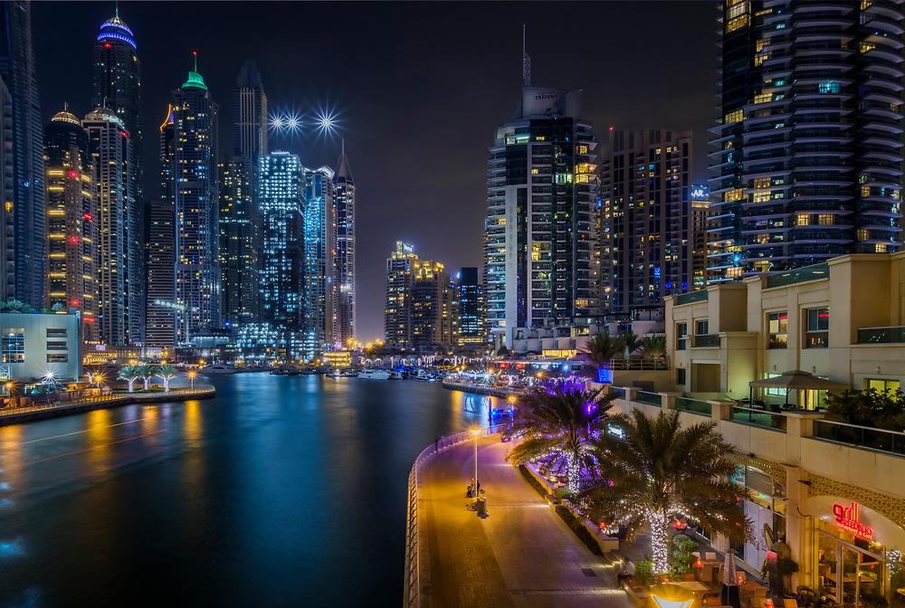 UNITED ARAB EMIRATES, DUBAI - CIRCA JANUARY 2017: Dubai Marina and skyscrapers at night.