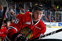 KELOWNA, BC - MARCH 03: Clay Hanus #58 of the Portland Winterhawks stands on the bench against the Kelowna Rockets at Prospera Place on March 3, 2019 in Kelowna, Canada. (Photo by Marissa Baecker/Getty Images)