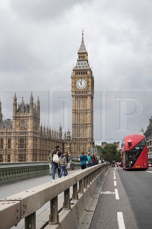 © Licensed to London News Pictures. 05/06/2017. London, UK.  New security crash barriers installed along Westminster Bridge in London following a terrorist attack on London Bridge on Saturday evening, in which a group of three men drove a hired van at pedestrians. New security measure are being implemented across the capital to prevent a repeat of recent attacks. Photo credit: Peter Macdiarmid/LNP