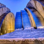 Kauffman Center for the Performing Arts at dusk after snowfall, downtown Kansas City, Missouri.