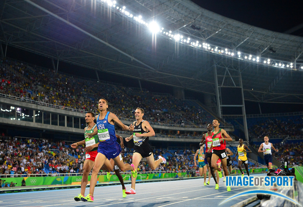 Aug 20, 2016; Rio de Janeiro, Brazil; Matthew Centrowitz (USA) defeats Taoufik Makhloufi (ALG) and Nick Willis (NZL) to win the 1,500m in 3:50.00 during the 2016 Rio Olympics at Estadio Olimpico Joao Havelange. <br /> <br /> *