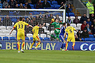 The ball is deflected off Cardiff city player Anthony Pilkington (13) and past goalkeeper David Marshall for an own goal to put Rotherham 1-2 up. Skybet football league championship match, Cardiff city v Rotherham Utd at the Cardiff city stadium in Cardiff, South Wales on  Saturday 23rd January 2016.<br /> pic by  Andrew Orchard, Andrew Orchard sports photography.
