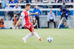 June 13, 2018 - San Jose, CA, U.S. - SAN JOSE, CA - JUNE 13: New England Revolution Forward Krisztian Nemeth (9) passes the ball during the MLS game between the New England Revolution and the San Jose Earthquakes on June 13, 2018, at Avaya Stadium in San Jose, CA. The game ended in a 2-2 tie. (Photo by Bob Kupbens/Icon Sportswire) (Credit Image: © Bob Kupbens/Icon SMI via ZUMA Press)