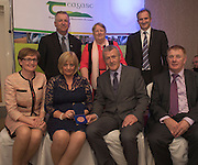 Prof Gerry Boyle, Director Teagasc , Marie Kelly, David Small, DARDNI, and seated  MEP Mairead McGuinness, Marjorie and Kieran O Malley Achill Sea Salt John Concannon JFC at the JFC Innovation awards sponsored by Teagasc, DARD Northern Ireland and the Irish Farmers Journal at the Claregalway Hotel. Photo:Andrew Downes