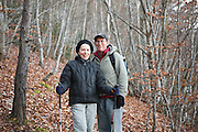 Parmenter and Liana Welty stand in a forest on the Col de Pennes in the Diois, Drôme Valley, France.