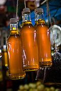 Bottles of honey for sale at Mercado Quinta Crespo, Caracas, Venezuela.