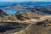 Landmannalaugar in South-Iceland - aerial photography.
