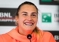 Aryna Sabalenka of Belarus talks to the media ahead of the 2021 Internazionali BNL d'Italia, WTA 1000 tennis tournament on May 10, 2021 at Foro Italico in Rome, Italy - Photo Rob Prange / Spain ProSportsImages / DPPI / ProSportsImages / DPPI