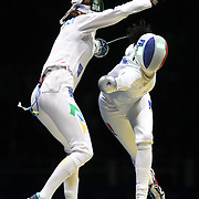 Opening Ceremony 2016  Fencing - Olympics: Day 1  Nathalie Moellhausen, (left), Brazil, in action during her victory over  Lauren Rembi, France, during the Women's Épée Individual Quarterfinal at Carioca Arena 3 on August 6, 2016 in Rio de Janeiro, Brazil. (Photo by Tim Clayton/Corbis via Getty Images)