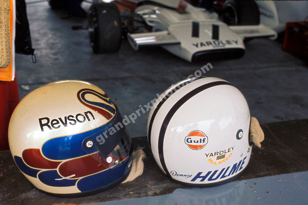 Helmets of McLaren-Ford drivers Peter Revson and Denny Hulme during the 1972 season. Photo: Grand Prix Photo