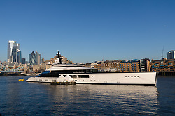 © Licensed to London News Pictures. 04/12/2019. London, UK. Dallas Cowboys owner and billionnaire, Jerry Jones's luxury 358 feet (109 meters) superyacht, Bravo Eugenia is seen moored at Butlers Wharf, near Tower Bridge on the River Thames after arriving in the capital late yesterday afternoon. The $225 million yacht which was built in 2018 is reported to be named after Jerry Jones's wife, Eugenia and have multiple luxuries onboard including two helipads, a fitness centre and sauna, and is capable of sleeping up to 14 people who are taken care of by a 30-person crew. Photo credit: Vickie Flores/LNP