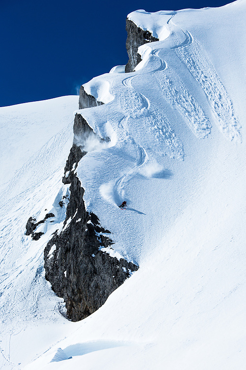 Ilir Osmani finding a beautiful line at Lyell Glacier