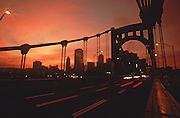 Pittsburgh Skyline, North Side Bridge, Sunrise, PA